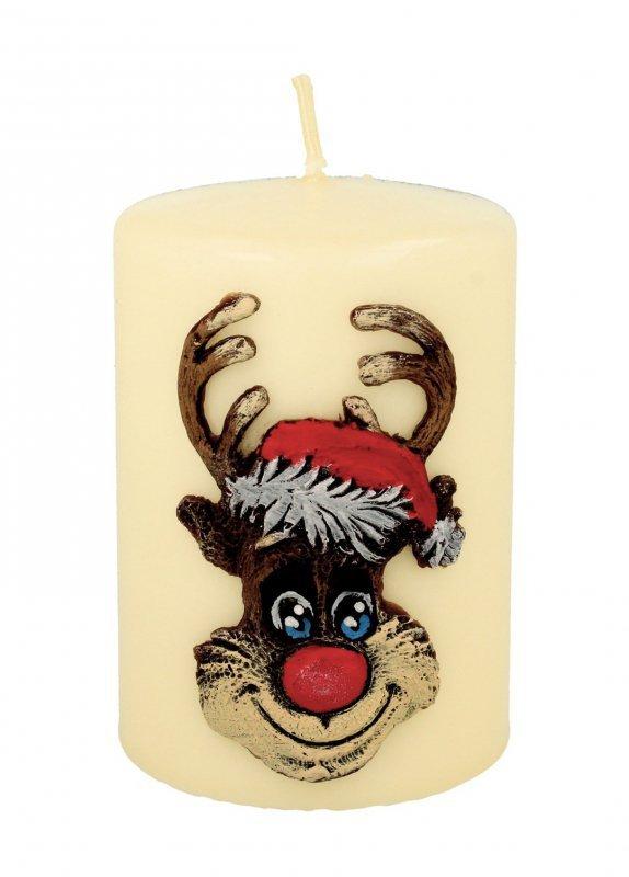 ARTMAN Boże Narodzenie Świeca ozdobna Rudolf kremowy - walec mały 1szt