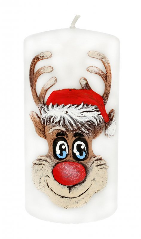 ARTMAN Boże Narodzenie Świeca ozdobna Rudolf biała - walec średni 1szt