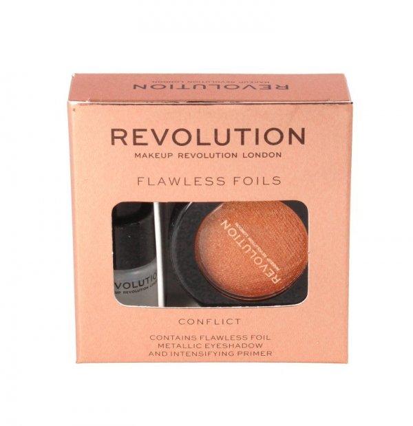 Makeup Revolution Flawless Foils Cień do powiek metaliczny+baza Conflict  1op.