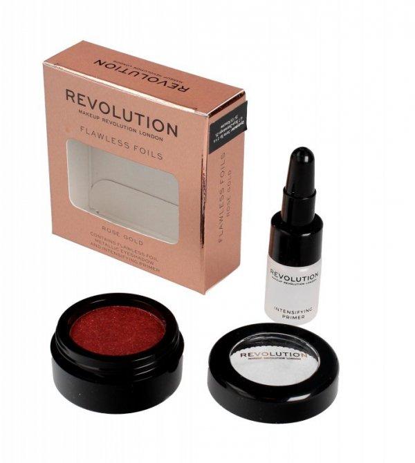 Makeup Revolution Flawless Foils Cień do powiek metaliczny+baza Rose Gold  1op.