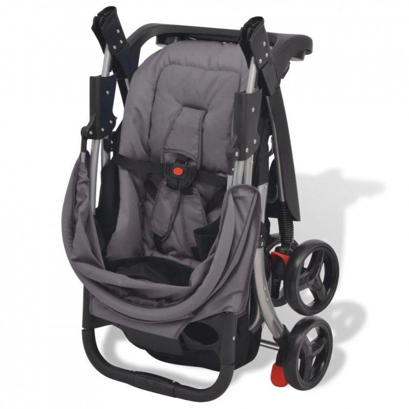 Szary wózek spacerowy, 102x52x100 cm