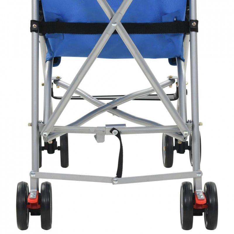 Składany wózek spacerowy, niebieski, stal