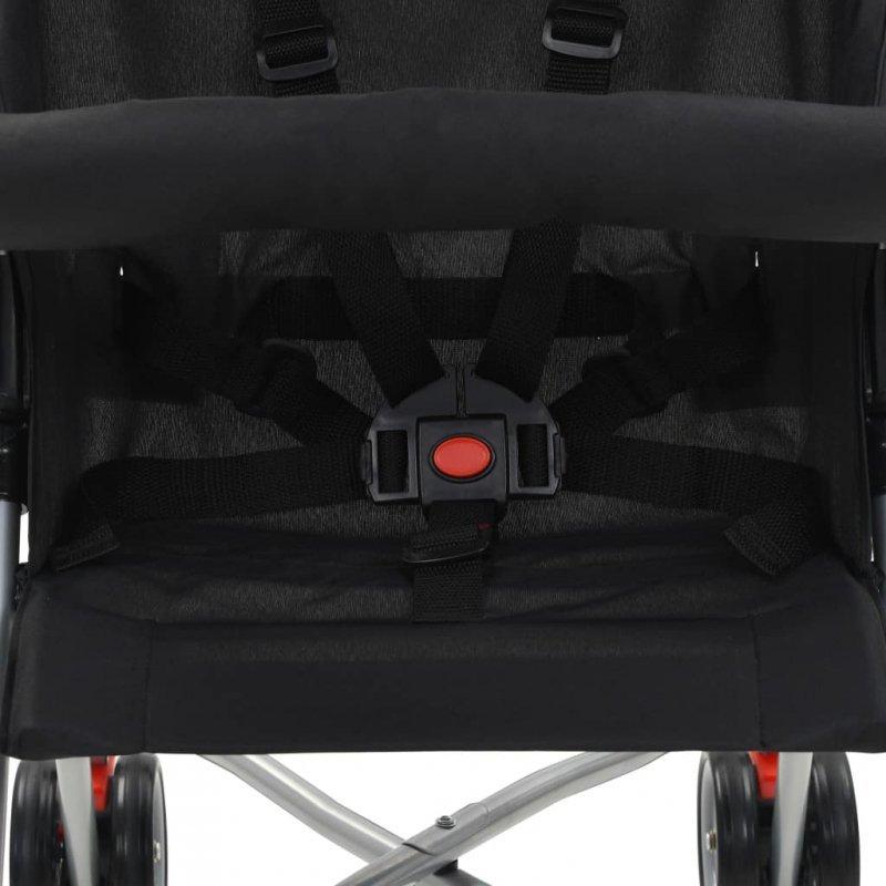 Składany wózek spacerowy, czarny, stalowy