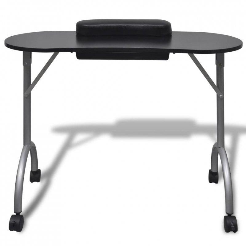 Składany stolik do manicure, czarny z kółeczkami