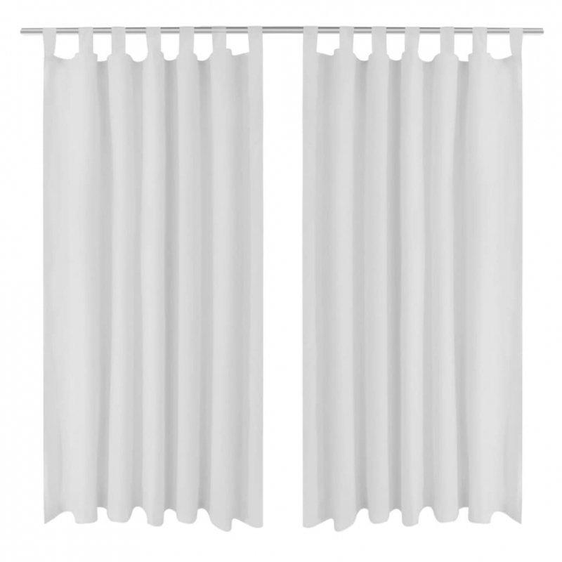 Białe atłasowe zasłony z pętelkami 2 szt. 140 x 225 cm