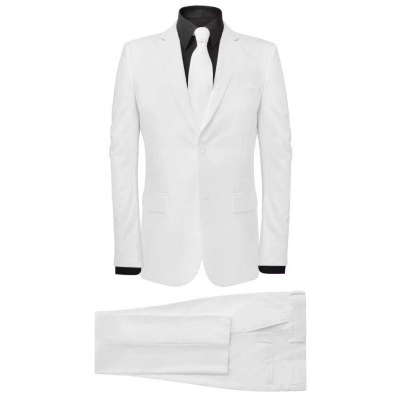 2-częściowy garnitur męski z krawatem biały rozmiar 48
