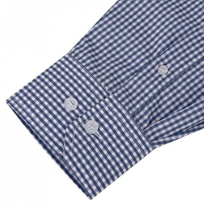 Męska koszula biznesowa w biało-granatową kratę rozmiar XL