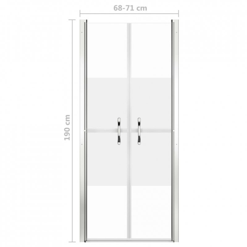 Drzwi prysznicowe, szkło częściowo mrożone, ESG, 71x190 cm