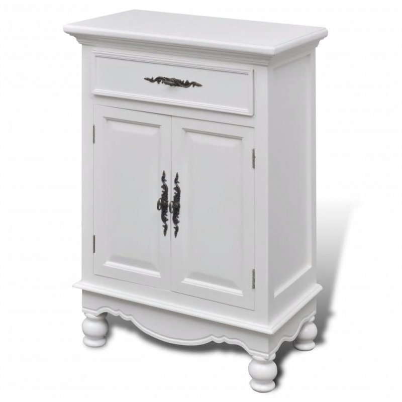 Drewniana szafka z 2 drzwiami i 1 szufladą, biała