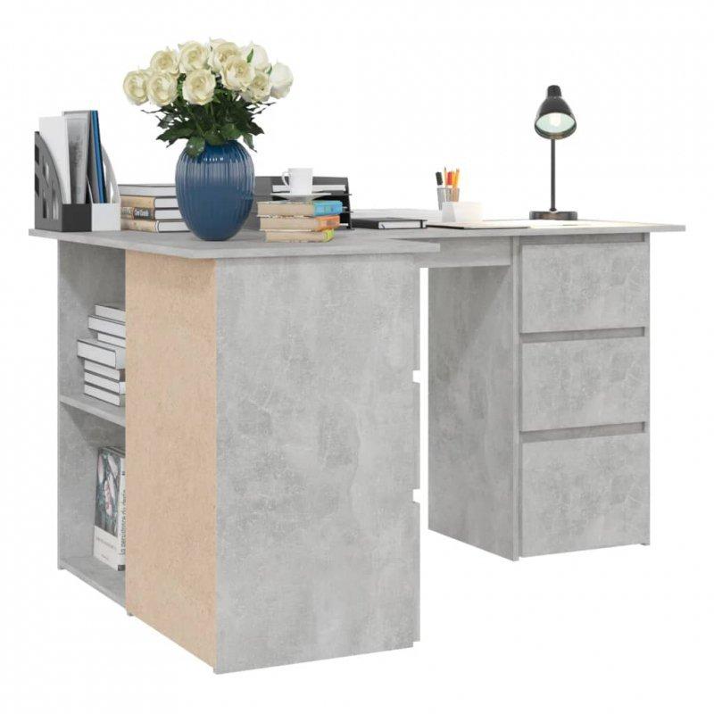 Biurko narożne, szarość betonu, 145x100x76 cm, płyta wiórowa