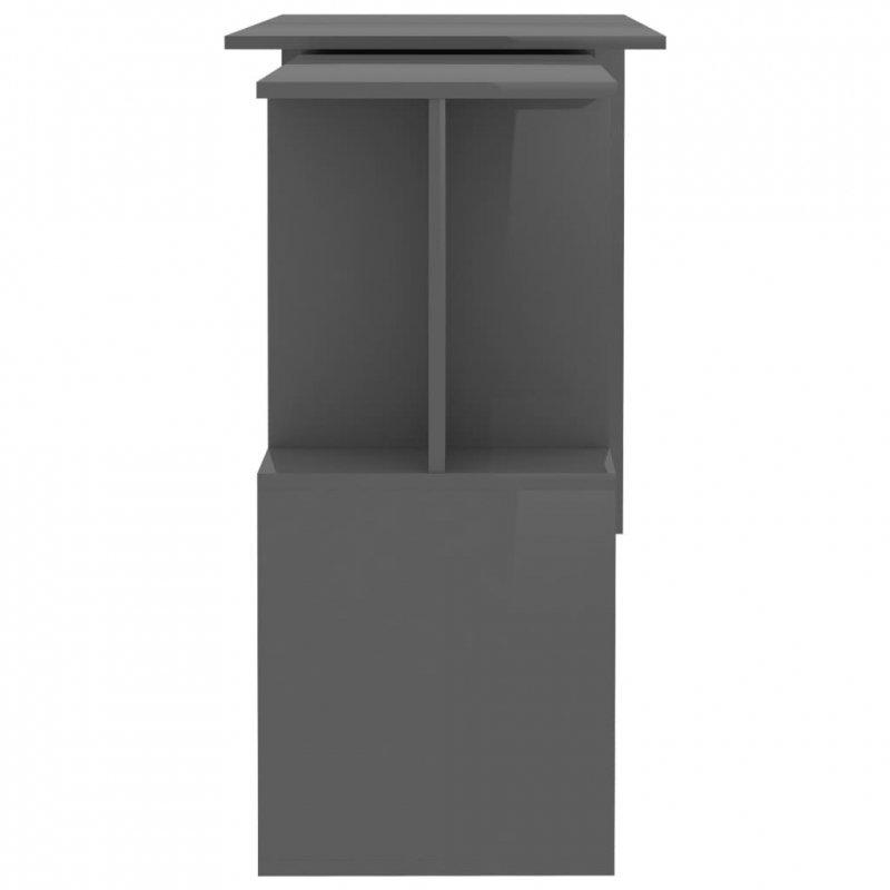 Biurko narożne, wysoki połysk, szare, 200x50x76 cm