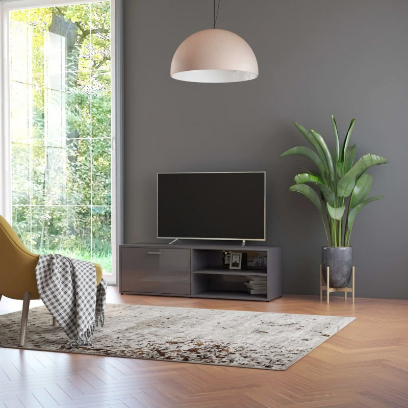 Szafka pod TV, szara na wysoki połysk, 120x34x37 cm