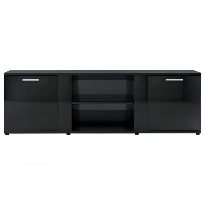 Szafka pod TV, czarna na wysoki połysk, 120x34x37 cm