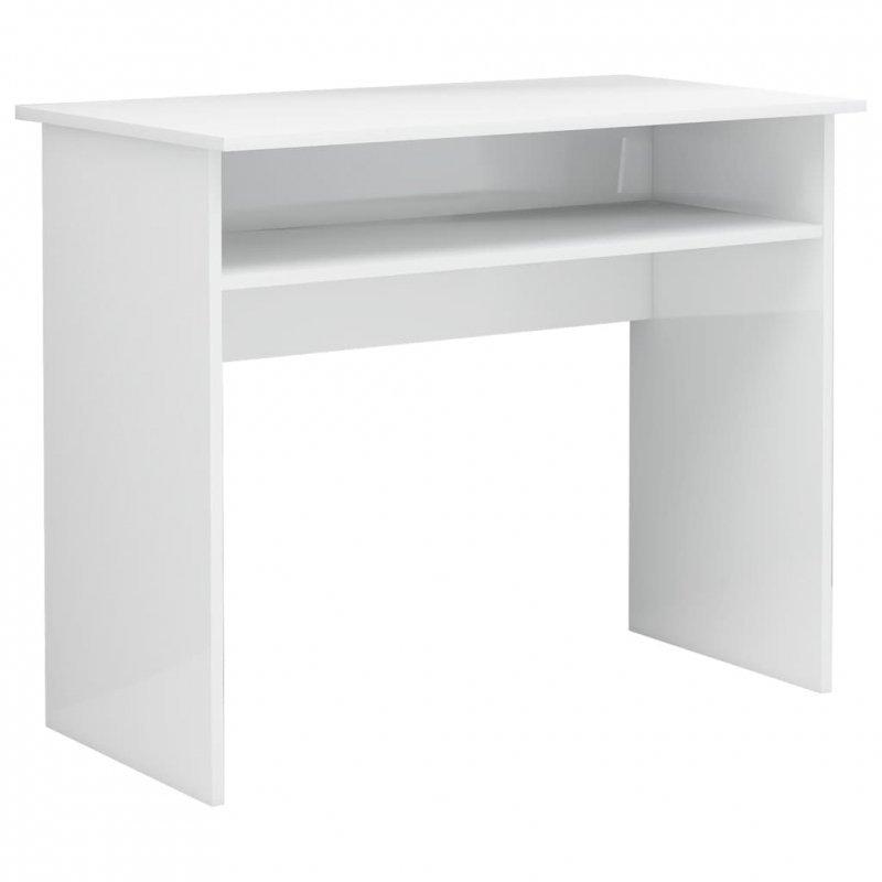 Biurko, wysoki połysk, białe, 90x50x74 cm, płyta wiórowa