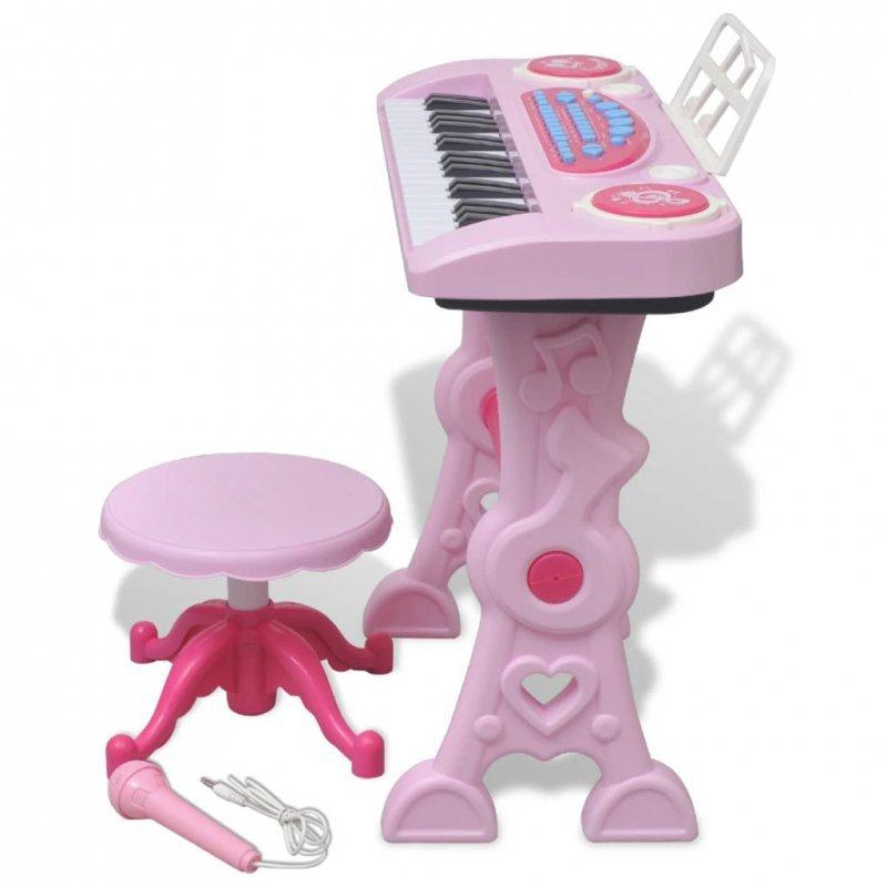Zabawkowy keyboard ze stolikiem i mikrofonem, różowy