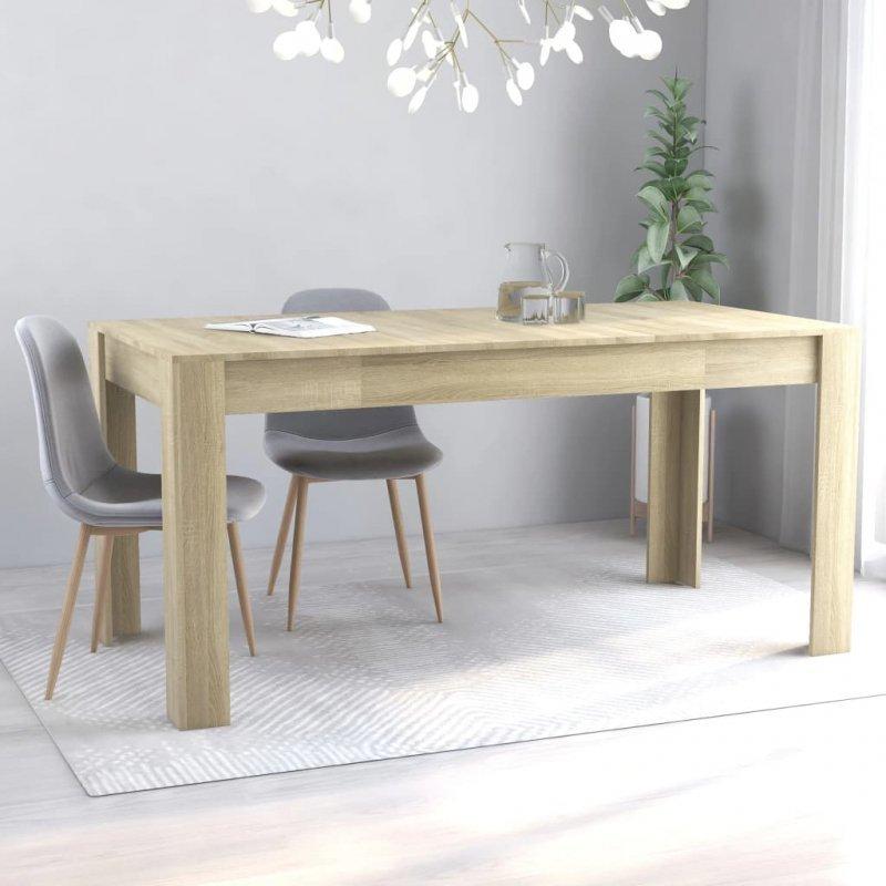 Stół jadalniany, kolor dąb sonoma, 160x80x76 cm, płyta wiórowa