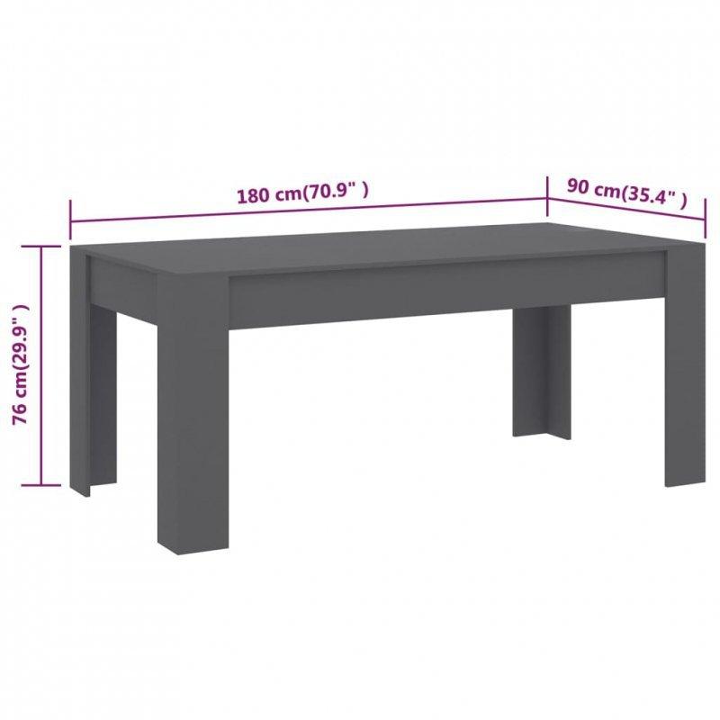 Stół jadalniany, szary, 180x90x76 cm, płyta wiórowa
