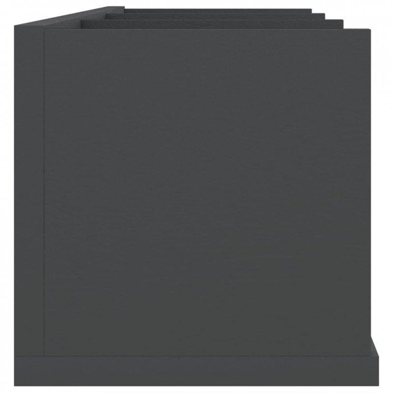 Półka ścienna na płyty CD, szara, 75x18x18 cm, płyta wiórowa