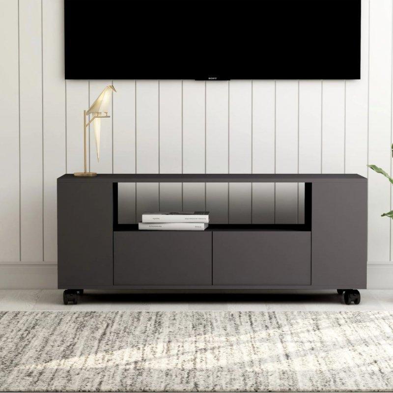 Szafka pod TV, szara, 120x35x43 cm, płyta wiórowa