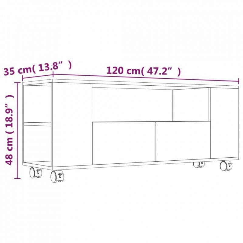 Szafka pod TV, betonowa szarość, 120x35x43 cm, płyta wiórowa