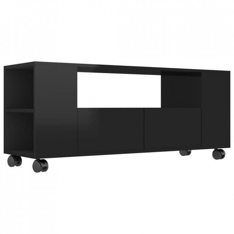 Szafka pod TV, wysoki połysk, czarna, 120x35x43cm, płyta wiórowa