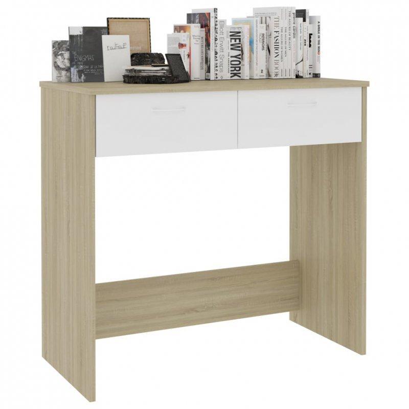 Biurko, biel i dąb sonoma, 80x40x74 cm, płyta wiórowa
