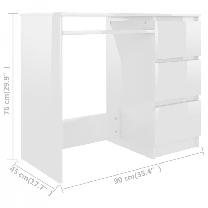 Biurko, wysoki połysk, białe, 90x45x76 cm, płyta wiórowa