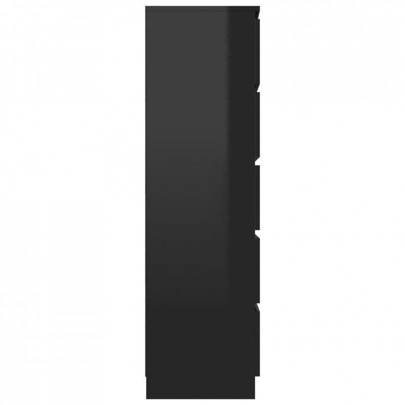 Komoda na wysoki połysk, czarna, 60x35x121 cm, płyta wiórowa