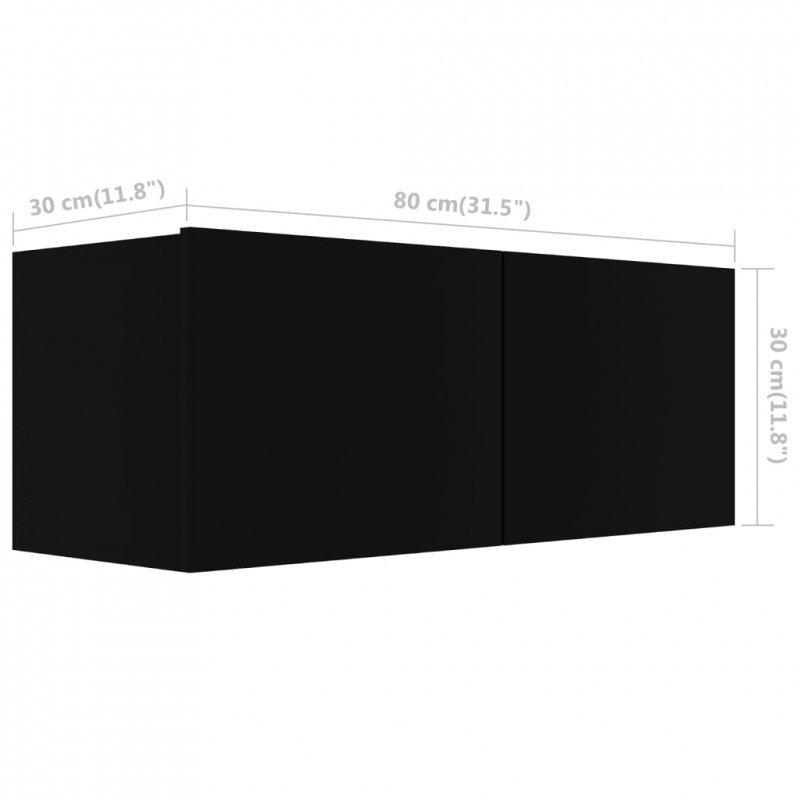 Szafka TV, czarna, 80x30x30 cm, płyta wiórowa