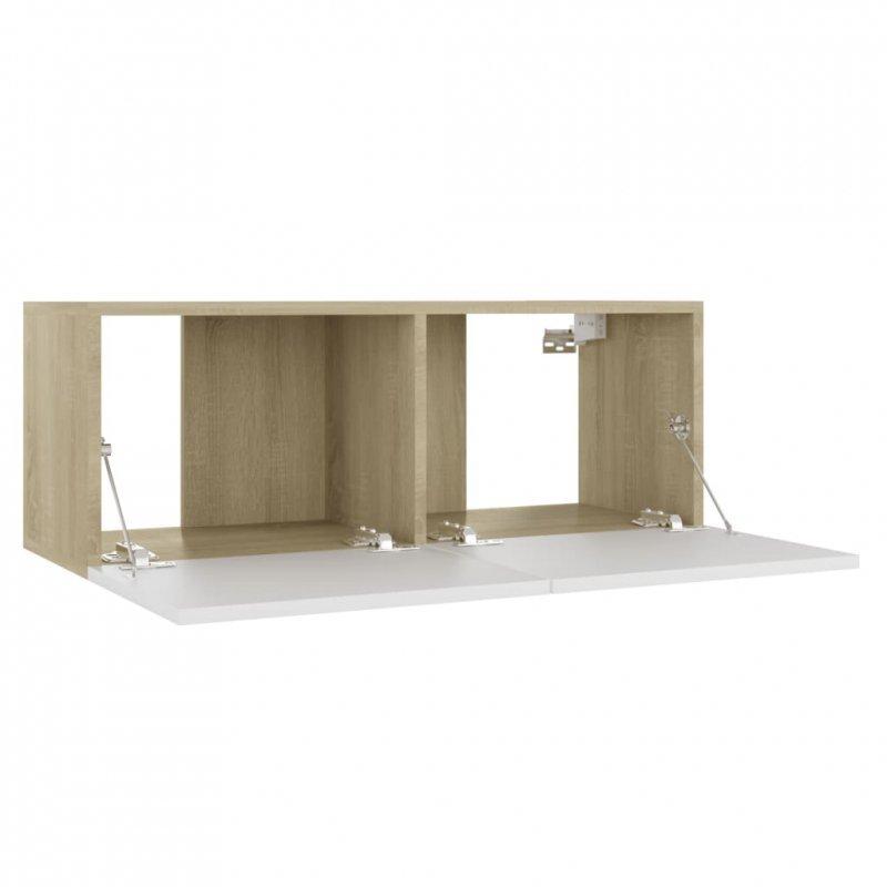 Szafka pod TV, biel i dąb sonoma, 80x30x30 cm, płyta wiórowa