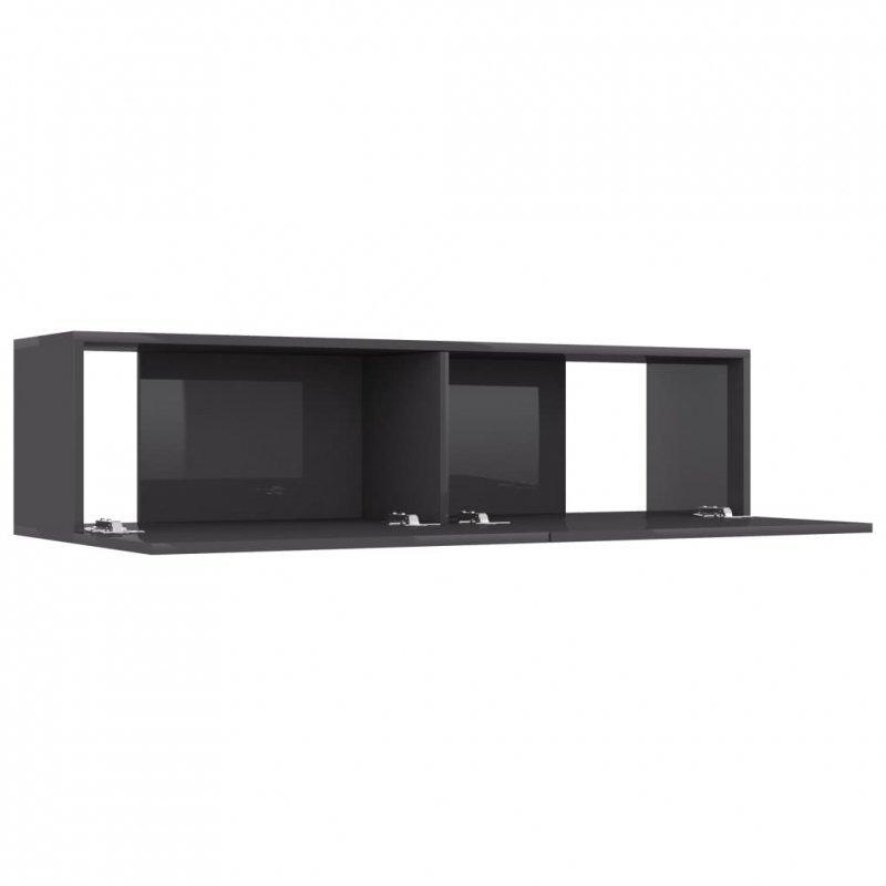 Szafka TV, wysoki połysk, szara, 120x30x30 cm, płyta wiórowa