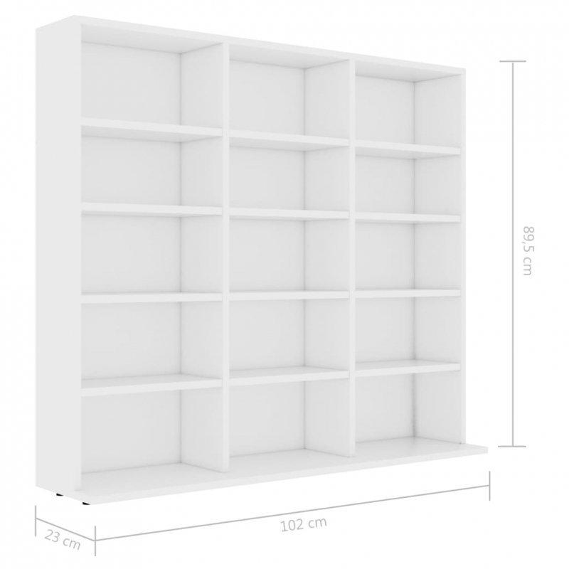 Szafka na płyty CD, biała, 102 x 23 x 89,5 cm, płyta wiórowa