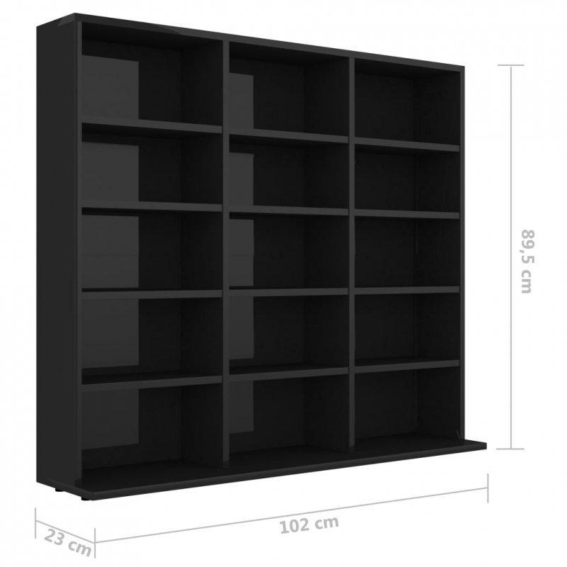 Szafka na płyty CD, wysoki połysk, czarna, 102 x 23 x 89,5 cm
