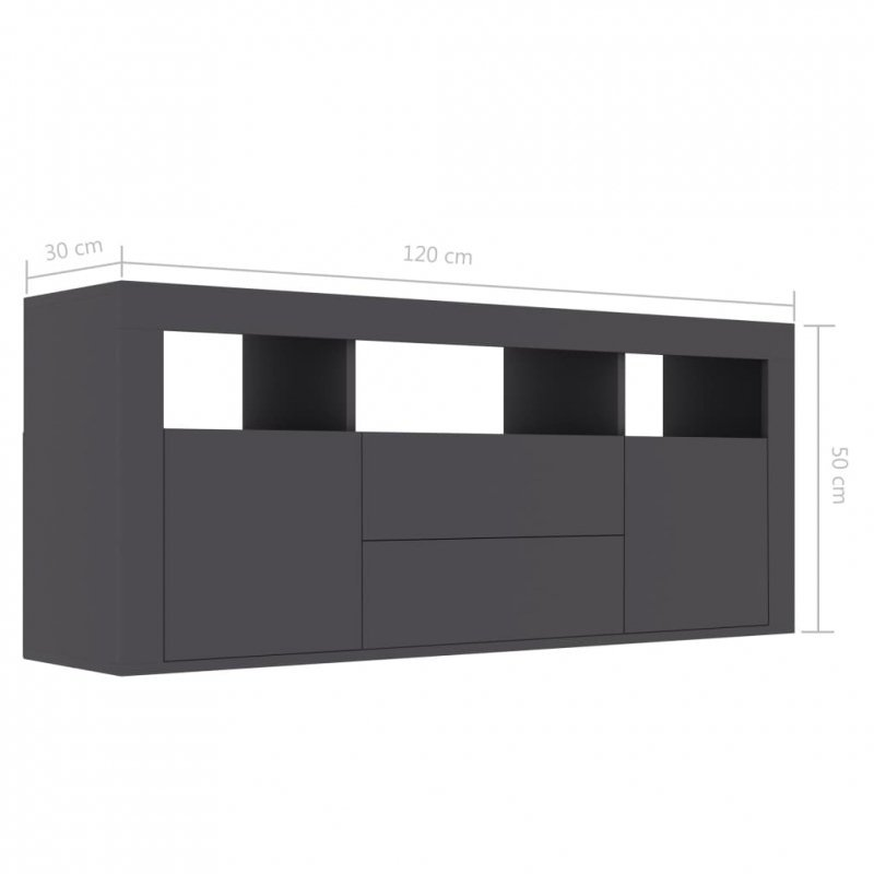 Szafka pod TV, szara, 120x30x50 cm, płyta wiórowa
