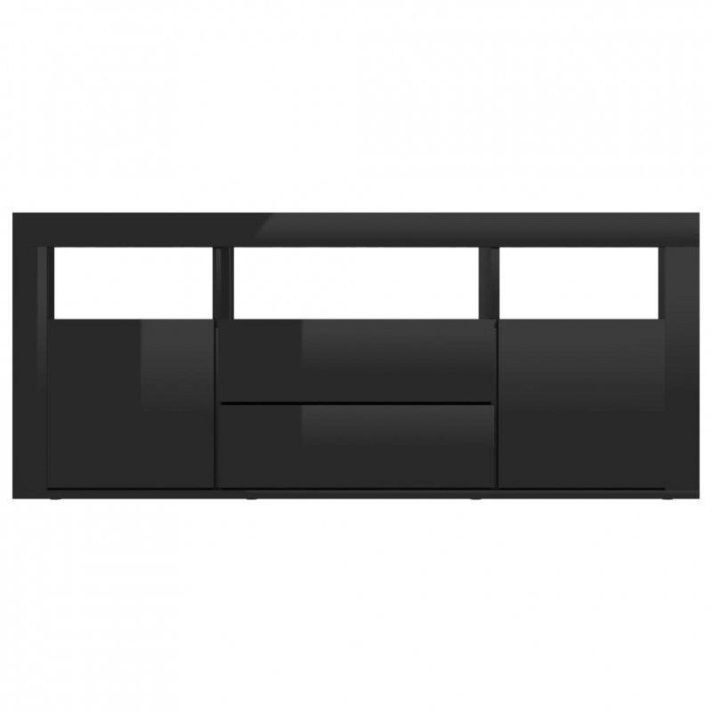 Szafka TV, czarna, wysoki połysk, 120x30x50 cm, płyta wiórowa