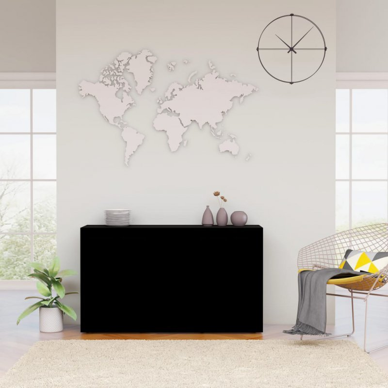 Komoda, czarna, 120x36x69 cm, płyta wiórowa