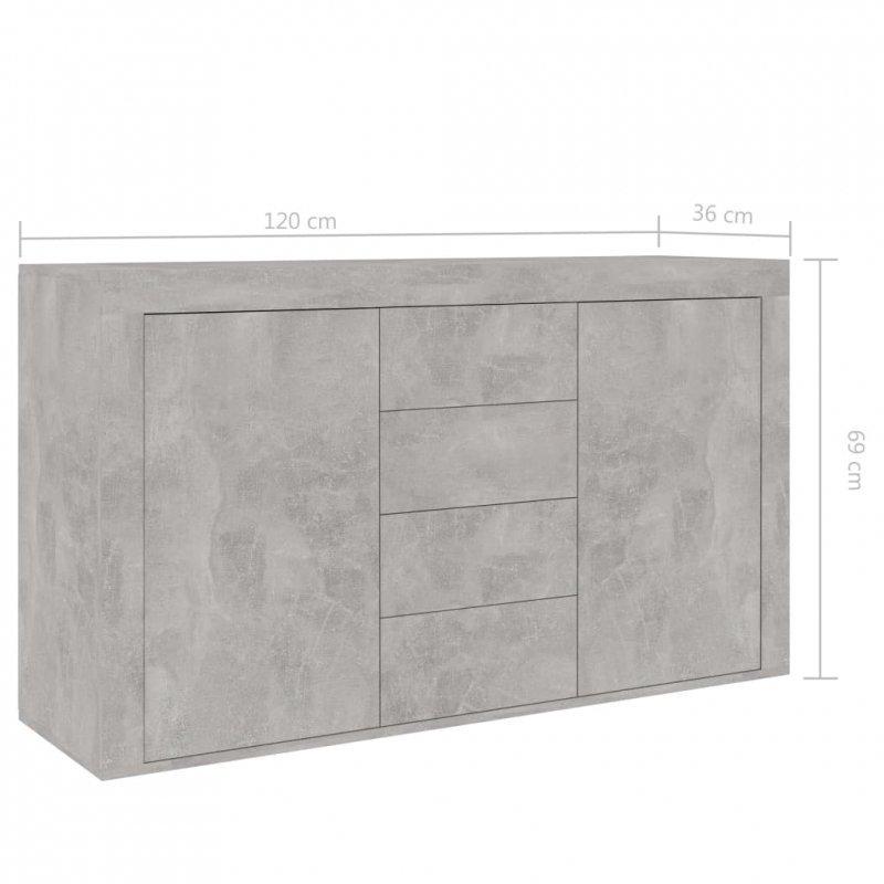 Komoda, szarość betonu, 120x36x69 cm, płyta wiórowa