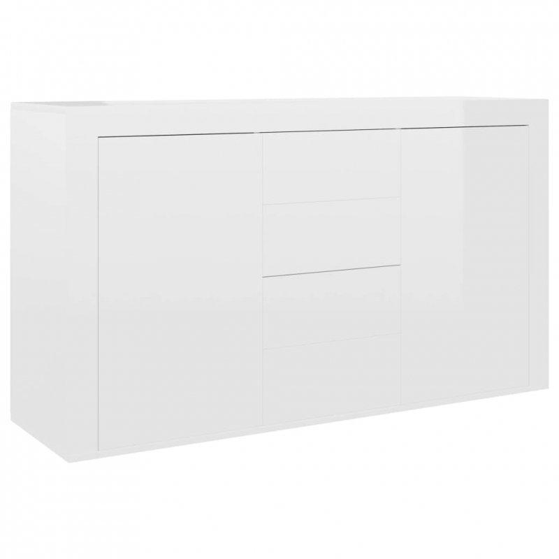 Komoda na wysoki połysk, biała, 120x36x69 cm, płyta wiórowa