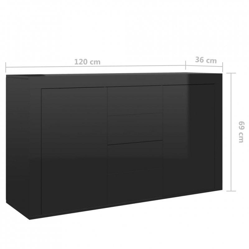 Komoda na wysoki połysk, czarna, 120x36x69 cm, płyta wiórowa