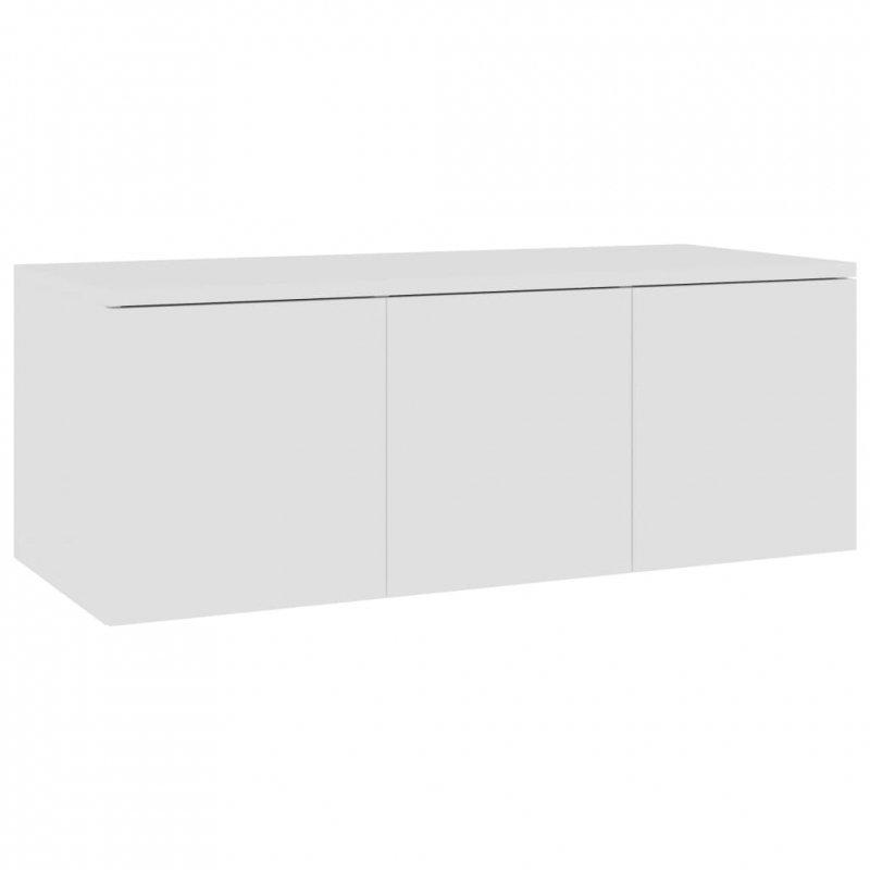 Szafka pod telewizor, biała, 80x34x30 cm, płyta wiórowa