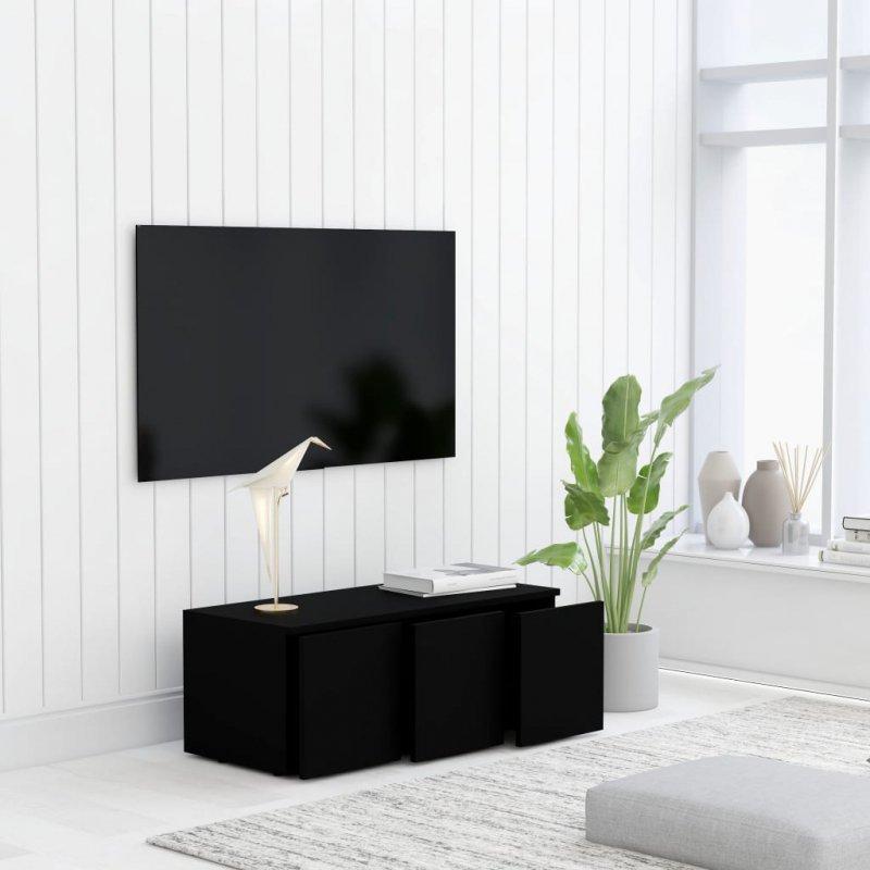 Szafka pod TV, czarna, 80x34x30 cm, płyta wiórowa