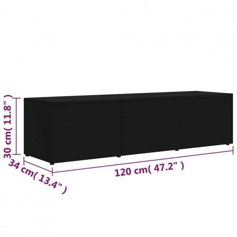 Szafka pod TV, czarna, 120x34x30 cm, płyta wiórowa
