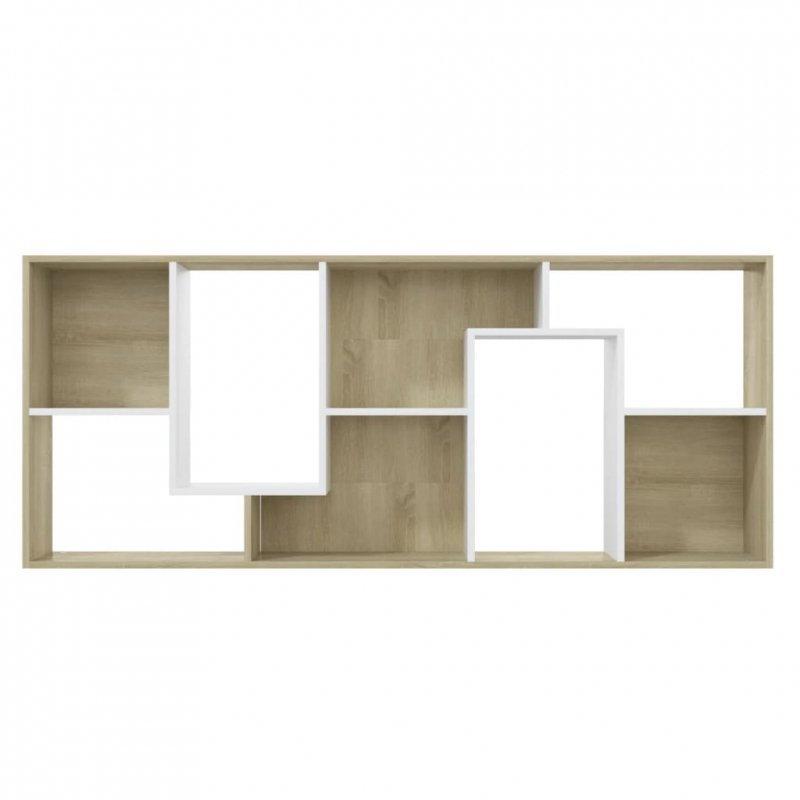 Regał, biel i dąb sonoma, 67x24x161 cm, płyta wiórowa