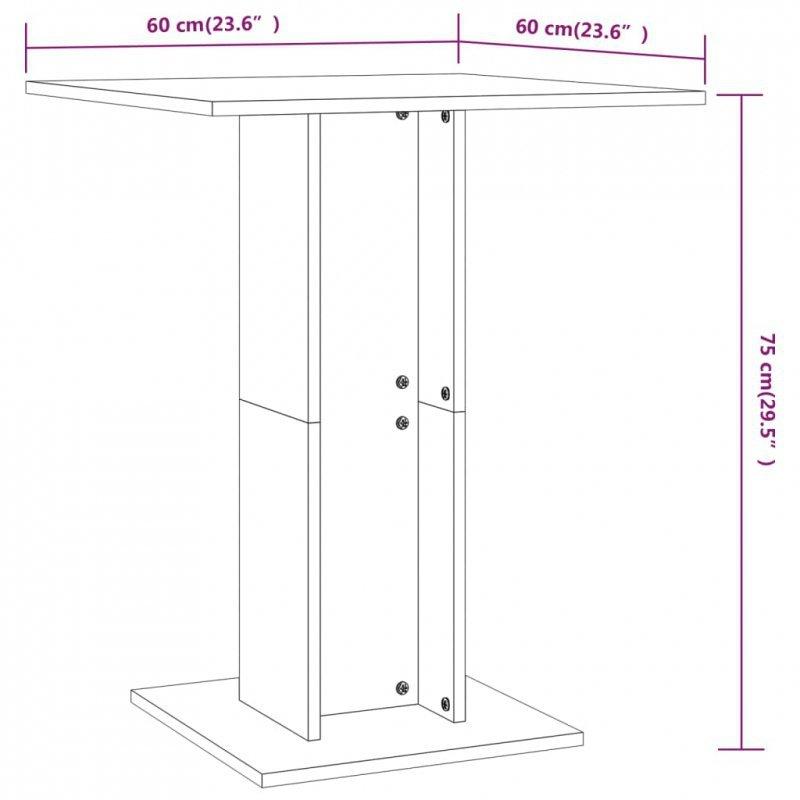 Stolik bistro, wysoki połysk, biały, 60x60x75 cm, płyta wiórowa