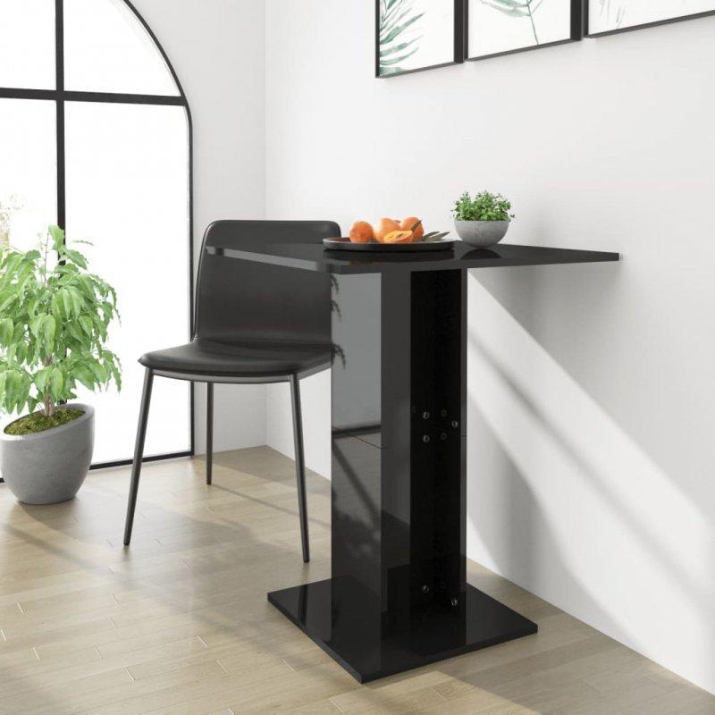 Stolik bistro, czarny, wysoki połysk 60x60x75 cm, płyta wiórowa