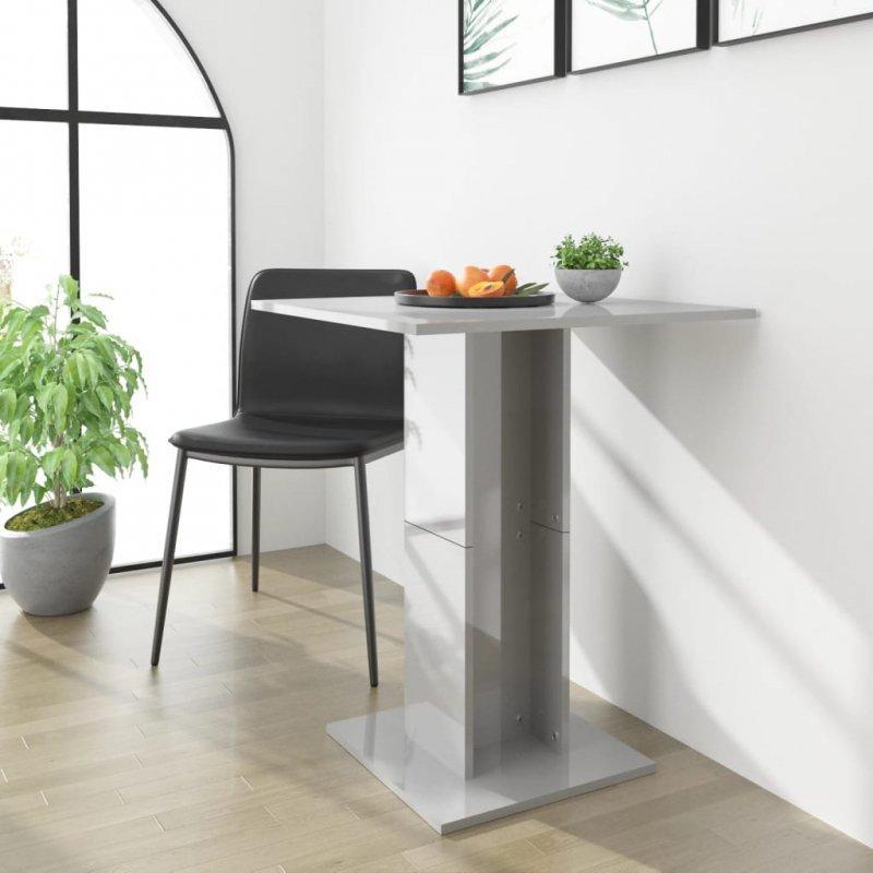 Stolik bistro, wysoki połysk, szary, 60x60x75 cm, płyta wiórowa