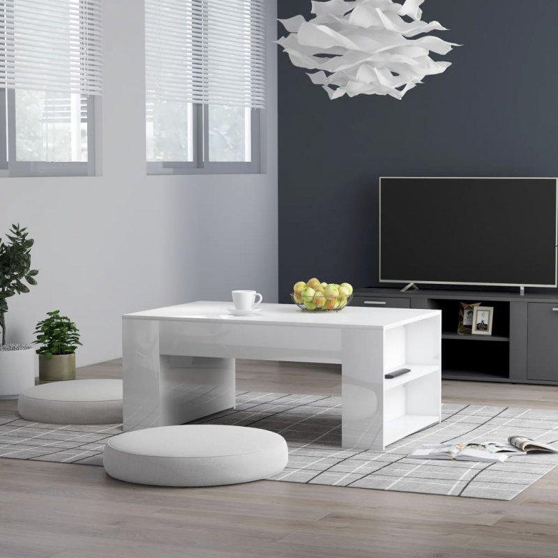 Stolik kawowy, wysoki połysk, biały, 100x60x42cm, płyta wiórowa