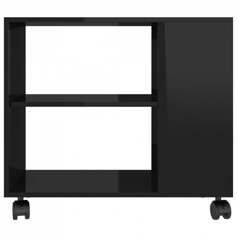 Stolik na wysoki połysk, czarny, 70x35x55 cm, płyta wiórowa