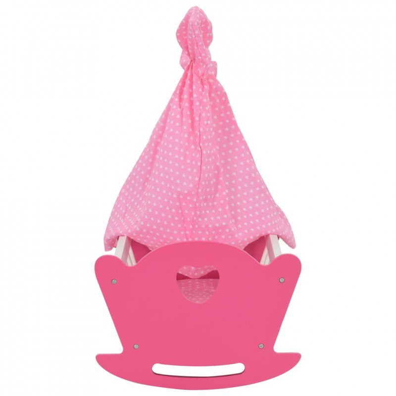 Łóżko dla lalek z baldachimem, MDF, 50x34x60 cm, różowe