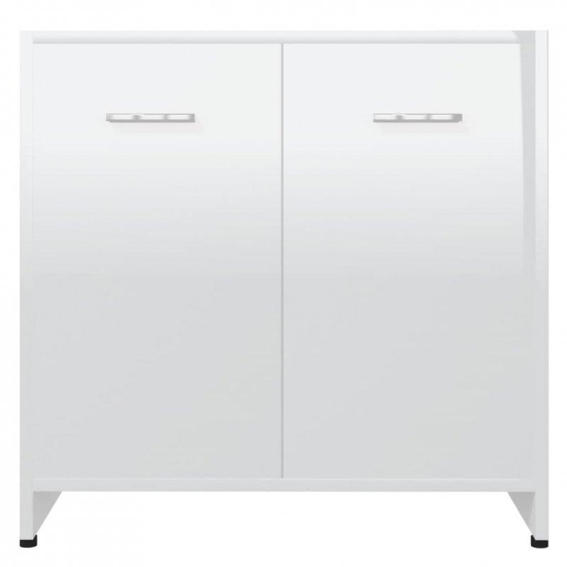 Szafka łazienkowa, połysk, biała, 60x33x58 cm, płyta wiórowa